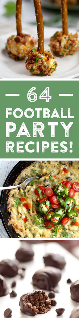 64 Football Party Recipes collage.
