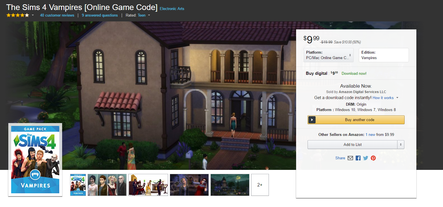 Amazon Sale: Purchase The Sims 4 Vampires for $10 | SimsVIP