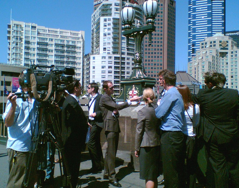Then Opposition Leader Ted Baillieu addresses media