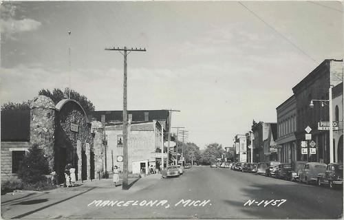 Nw Mancelona Mi 1940s Fire Station Downtown Stores Busines