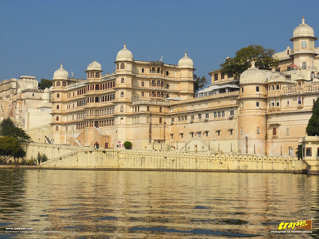 A view of City Palace from Pichola Lake in Udaipur, Rajasthan, India