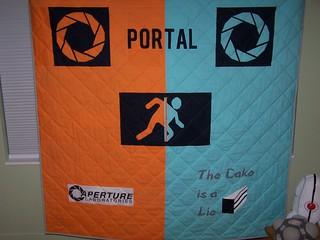 Portal/Companion Cube quilt