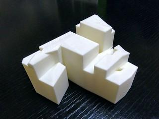 Maqueta de uno de los edificios de Bilbao la Vieja, impresa en 3D.
