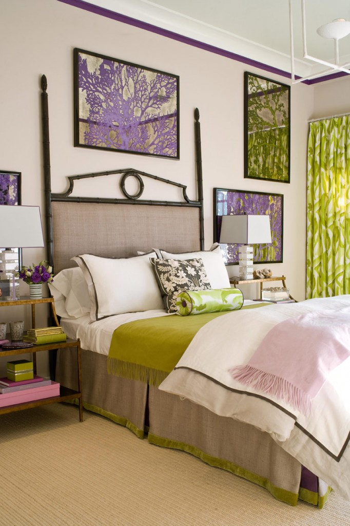 Green and Tauple Bedding Green Palm Curtains Purple Art Bedroom Artwork Greenery Pantone's 2017 Color of the Year