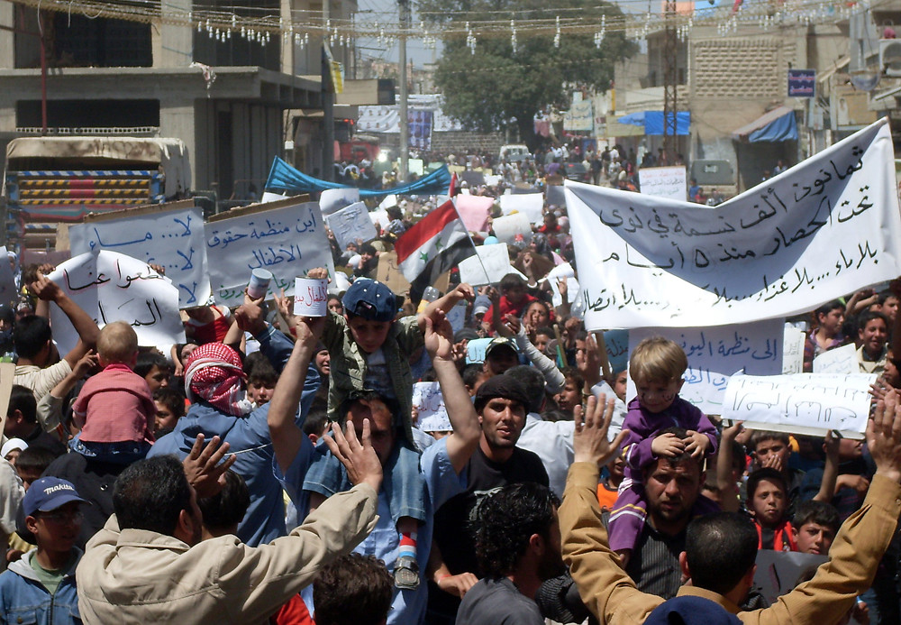2011年反政府示威最初發生在南部遭逢大罕之苦的貧窮地區。(照片來源:AFP/Getty Images)