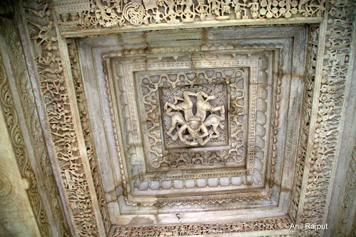 Kechak (Hindu mythological figure) at ceiling above the main entrance