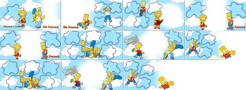 Family photobook for Photoshop – the Simpsons clouds