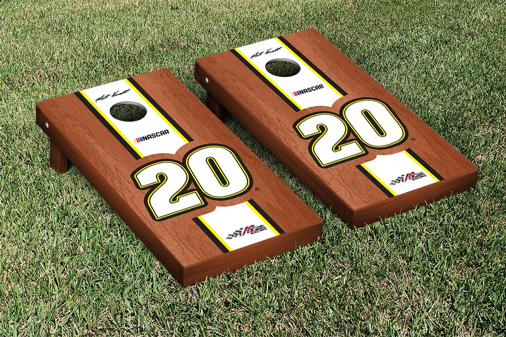 MATT KENSETH #20 CORNHOLE GAME SET ROSEWOOD STAINED STRIPE VERSION (1)