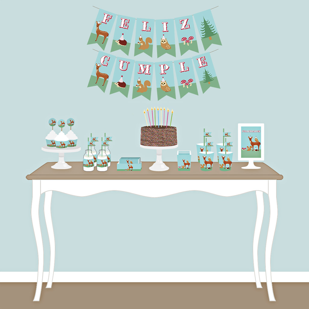 kit fiesta cumpleaños animales bosque
