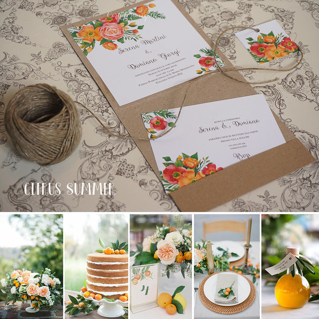 Citrus Summer Weding Invitations - Partecipazioni Nozze handmade agrumi