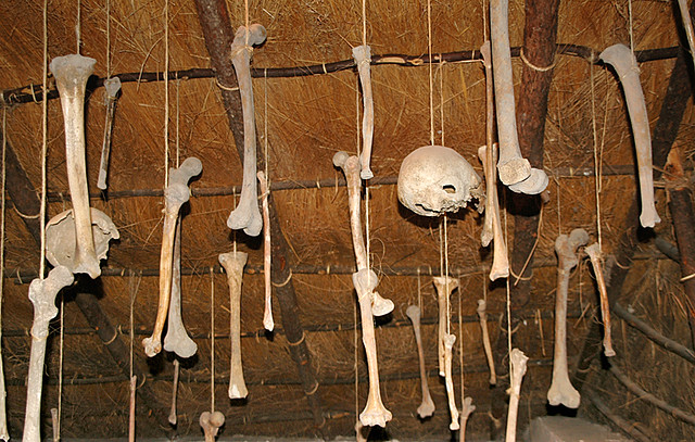 Bones hanging in a hut in La Quemada, Meso-American ruins near Guadalajara, Mexico