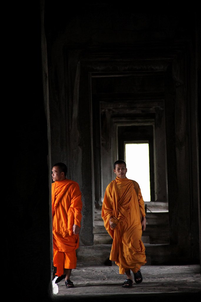 Monks Wander Through Angkor Wat
