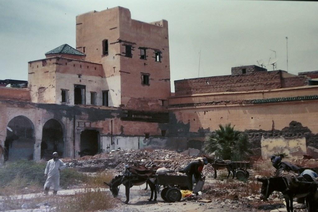 La tour du jardin secret de Marrakech pendant les travaux de rénovation.