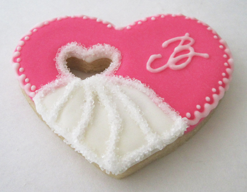 Bridal gown heart cookie with monogram | Sarah Godlove | Flickr