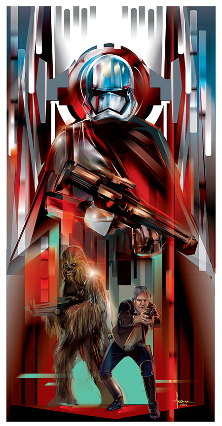 Star Wars: The Force Awakens Adversaries By Orlando Arocena - Chewbacca, Han Solo and Captain Phasma