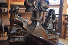 bench end: ram and stag (15th Century)