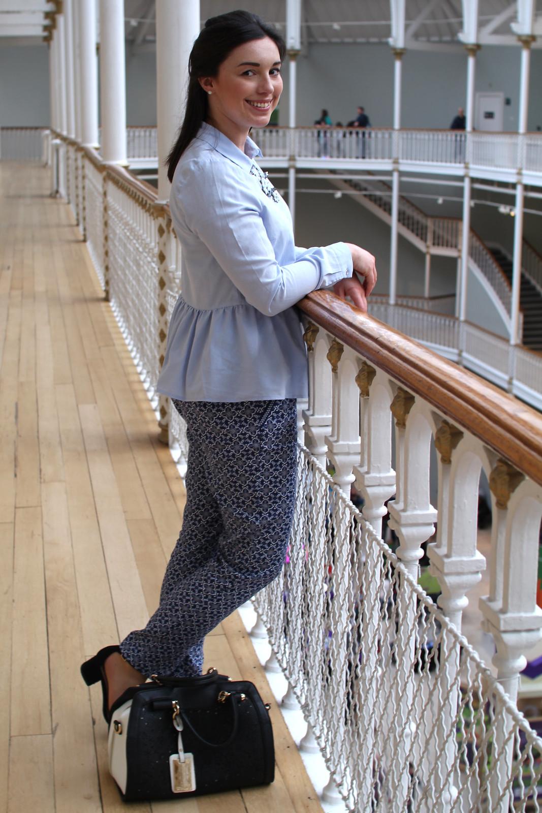 peplum shirt Primark SS17 fashion blogger Edinburgh Scotland UK bold print trousers