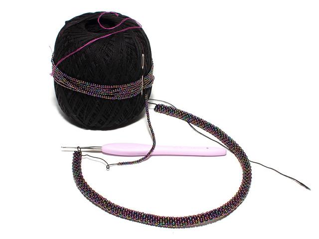 Beaded crochet necklace in progress
