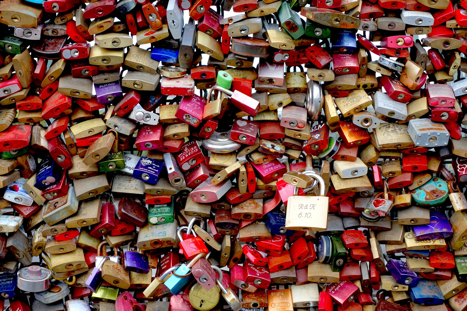 Locks on a bridge in Cologne (Köln), Germany