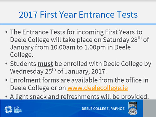 incoming Entrance Tests