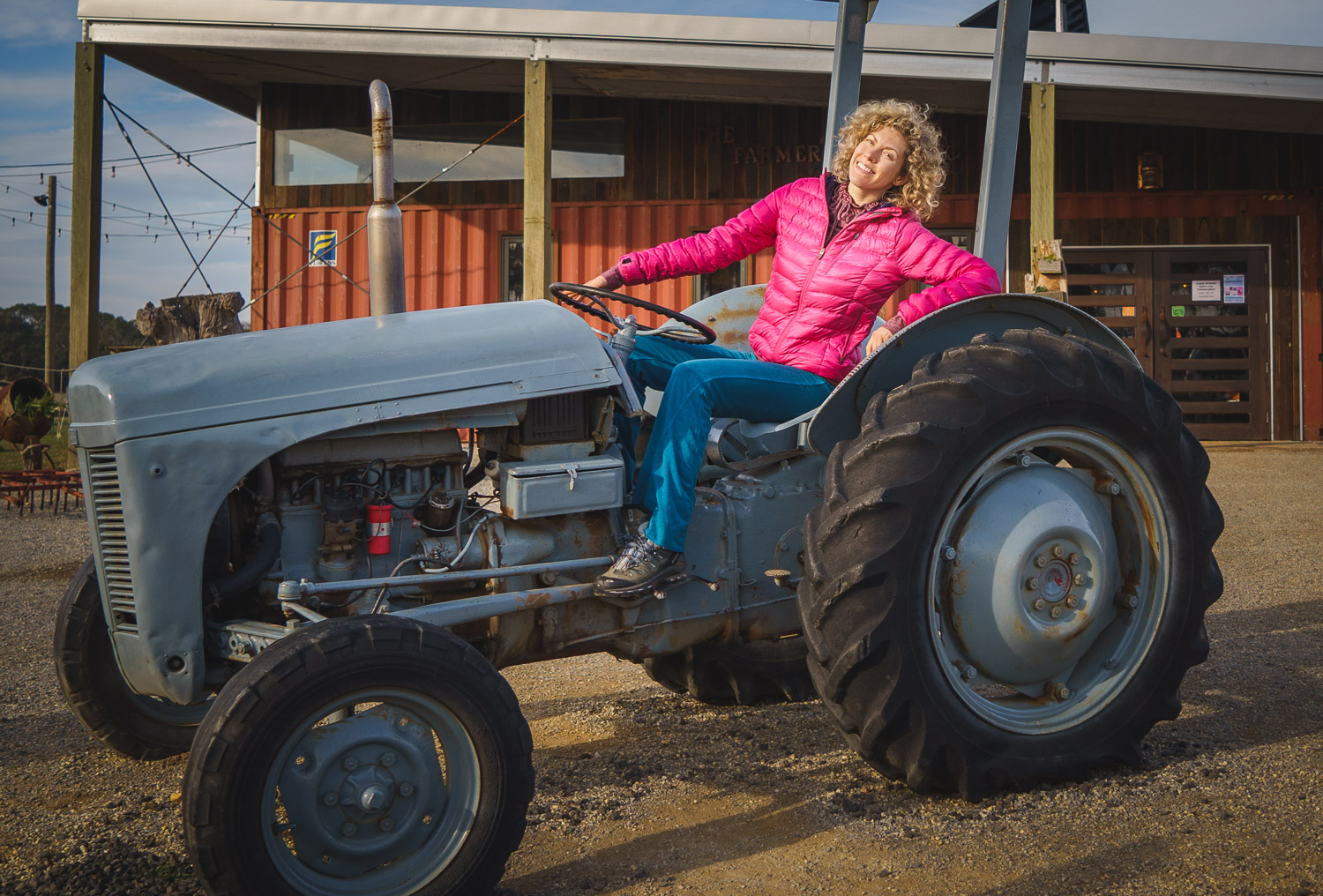 Dina on tractor