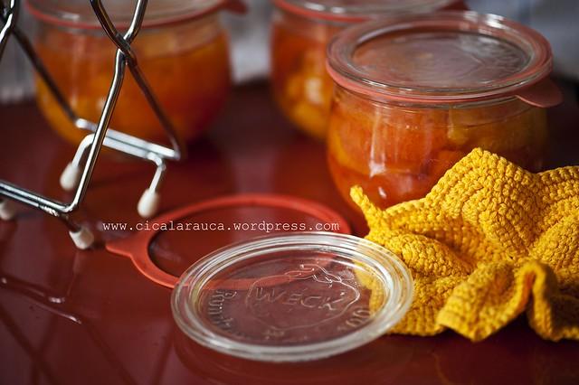 Spicchi di arance e pompelmi sciroppati
