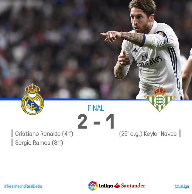 La Liga (Jornada 27): Real Madrid 2 - Betis 1