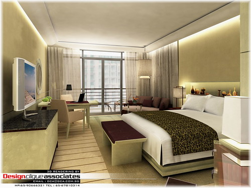 3d hotel bedroom design rendering by singapore 3d interior design rendering - 3d Design Bedroom