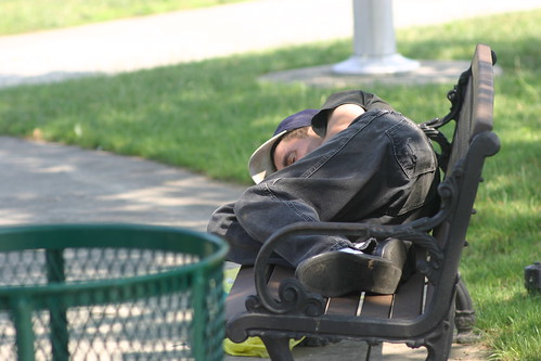 man sleeping on park bench | by grendelkhan