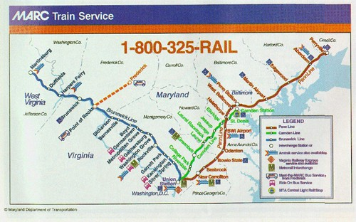 MARC Commuter railroad map (slightly out of date)