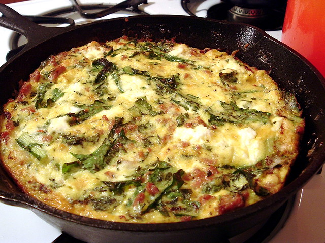 frittata with herbs, greens, sausage and ricotta | Flickr ...