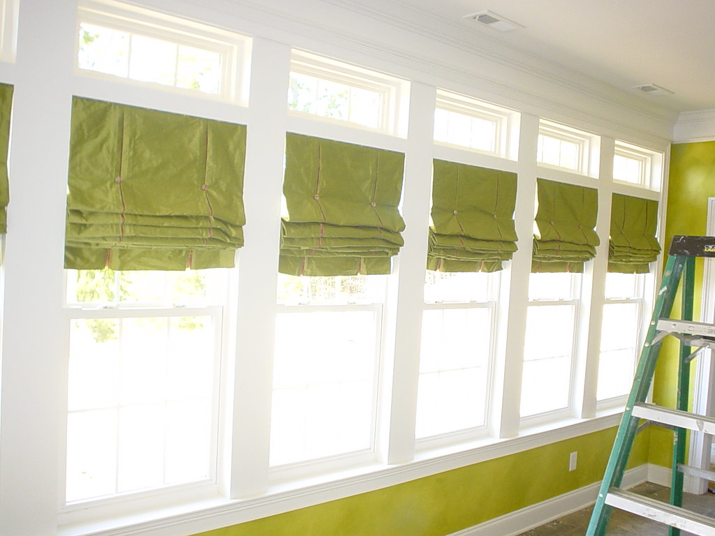Nine roman shades for sunroom for pat beautiful green for Window covering ideas for sunrooms