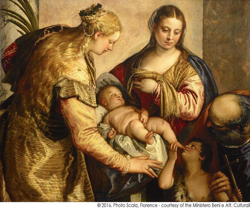 パオロ・ヴェロネーゼ《聖家族と聖バルバラ、幼い洗礼者聖ヨハネ》(1562-65年頃、フィレンツェ・ウフィツィ美術館蔵)