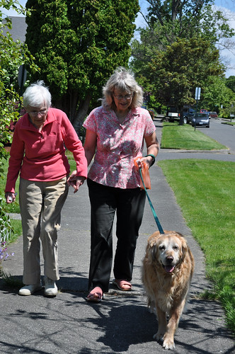 Kate Nichols (right), a caregiver/member-owner of the Circle of Life Caregiver Cooperative, helping client Bess Christman get some exercise with golden retriever Amber