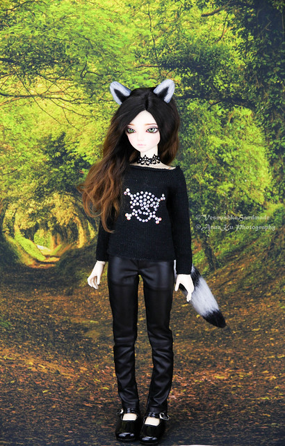Racoon Set (ears & tail) & Black scull outfit (jeans, sweater)