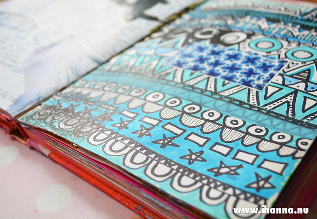 Art Journal | Doodle row of patterns in blue by iHanna