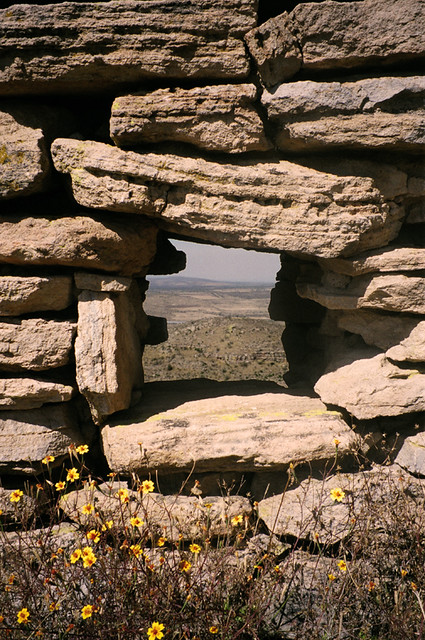 A 'window' through the ruins of La Quemada looking out over the arid land