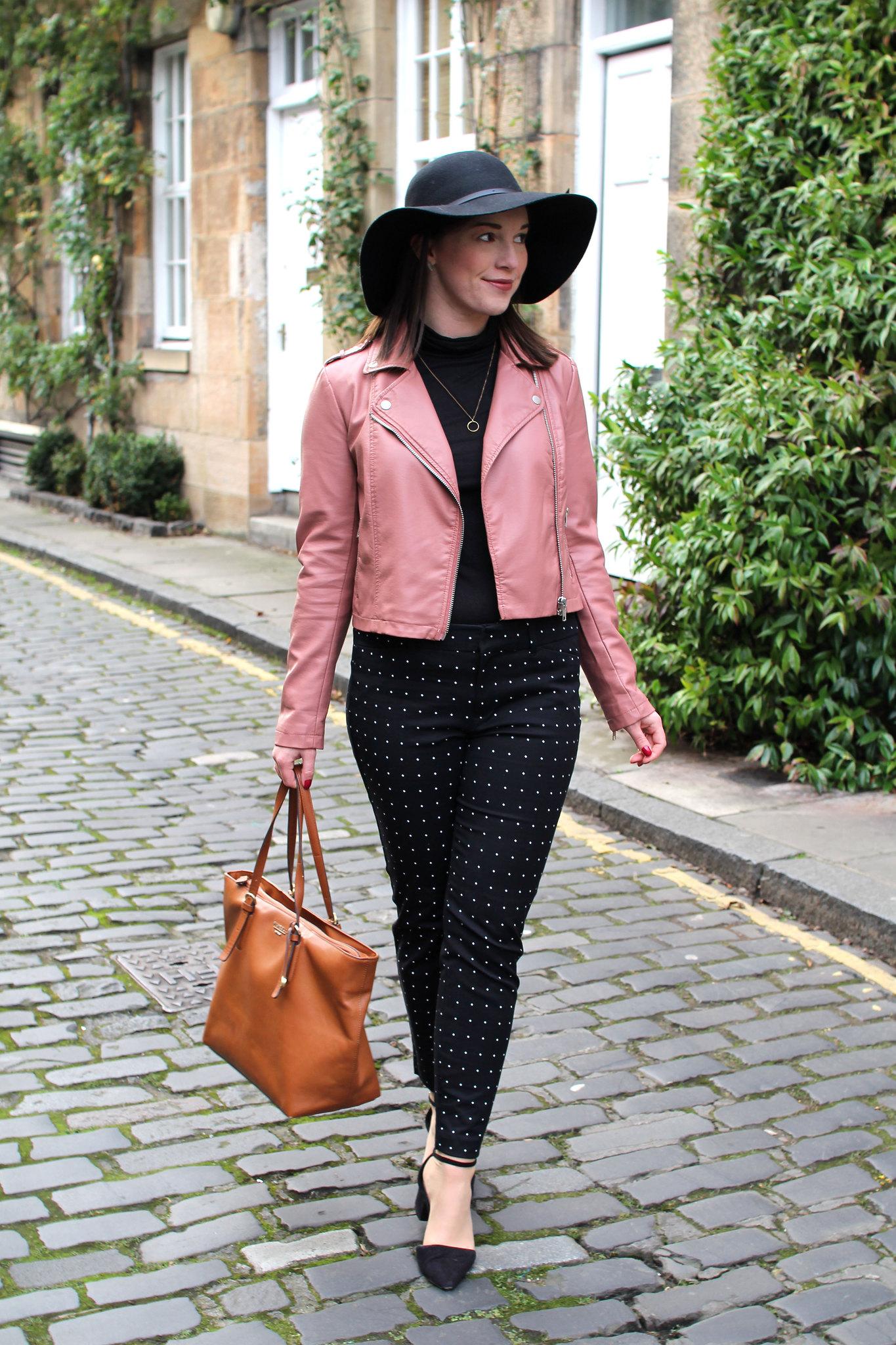 cigarette trouser trend pink leather jacket fashion blogger uk