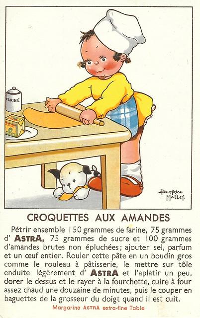 Französisches Mandelgebäck (Croquettes aux amandes) ... Alte Rezeptkarte von Astra-Margarine