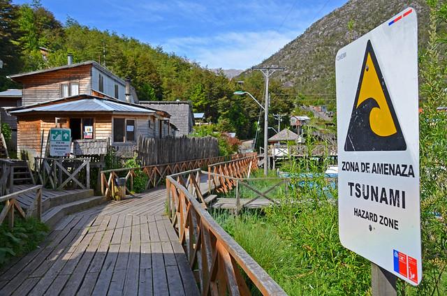 Via de Evacuacion Tsunami, Caleta Tortel, Southern Chile