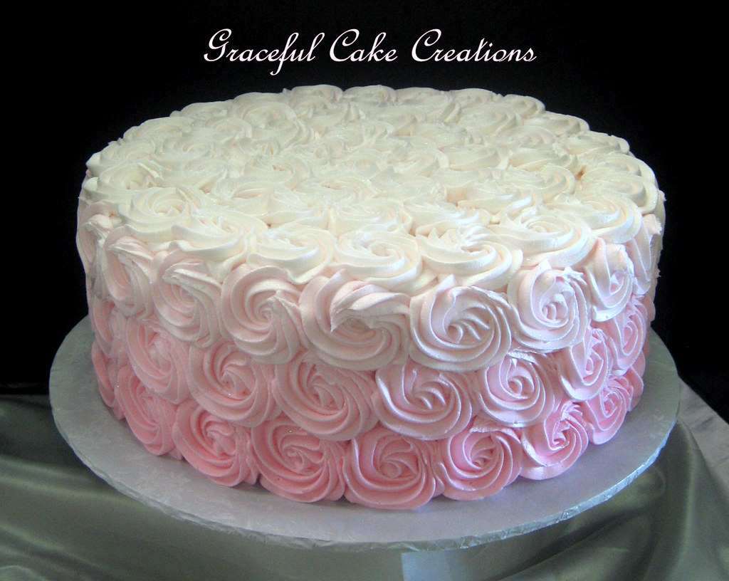 pink ombre rosette bridal shower cake by graceful cake creations