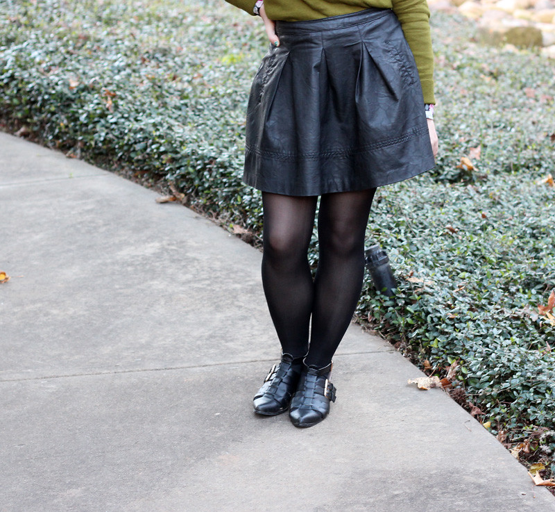 Faux Leather Skirt, Black Tights, and Pointed Cutout Boot Flats