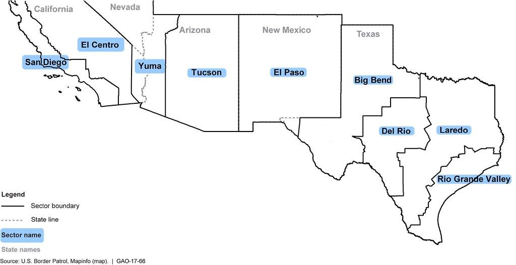 Figure Southwest Border Patrol Sectors This Image Is Ex Flickr - Us map of southwestern border