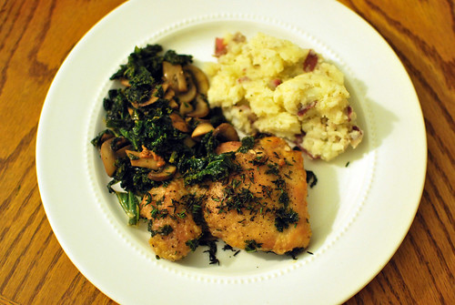 seared chicken and mashed potatoes.