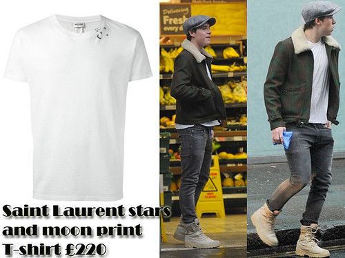 Saint-Laurent-stars-and-moon-print-T-shirt-and-Yeezy-boots