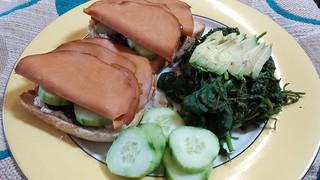 Cream cheese and ham sandwiches