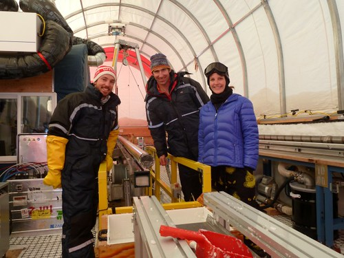 Mindy Nicewonger's last shift for the season. Shown left to right are: Grant Boeckmann, Dom Winski and Mindy Nicewonger | by U.S. Ice Drilling