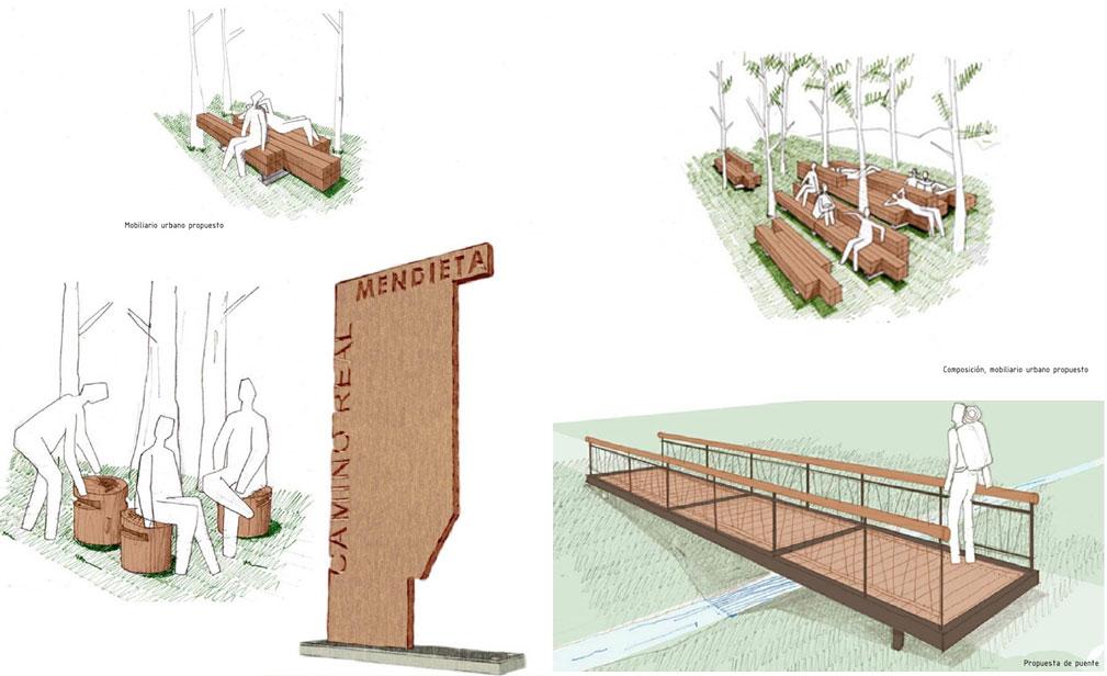 Detalle mobiliario y puente_proyecto de rehabilitación de Pablo Hernández, Vicente Gutiérrez y Susana Llanes, del año 2014