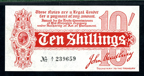 Lot 1486 - 10 Shilling Treasury Note, ND (1914), Uncirculated King George V