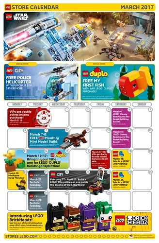 LEGO March 2017 Store Calendar